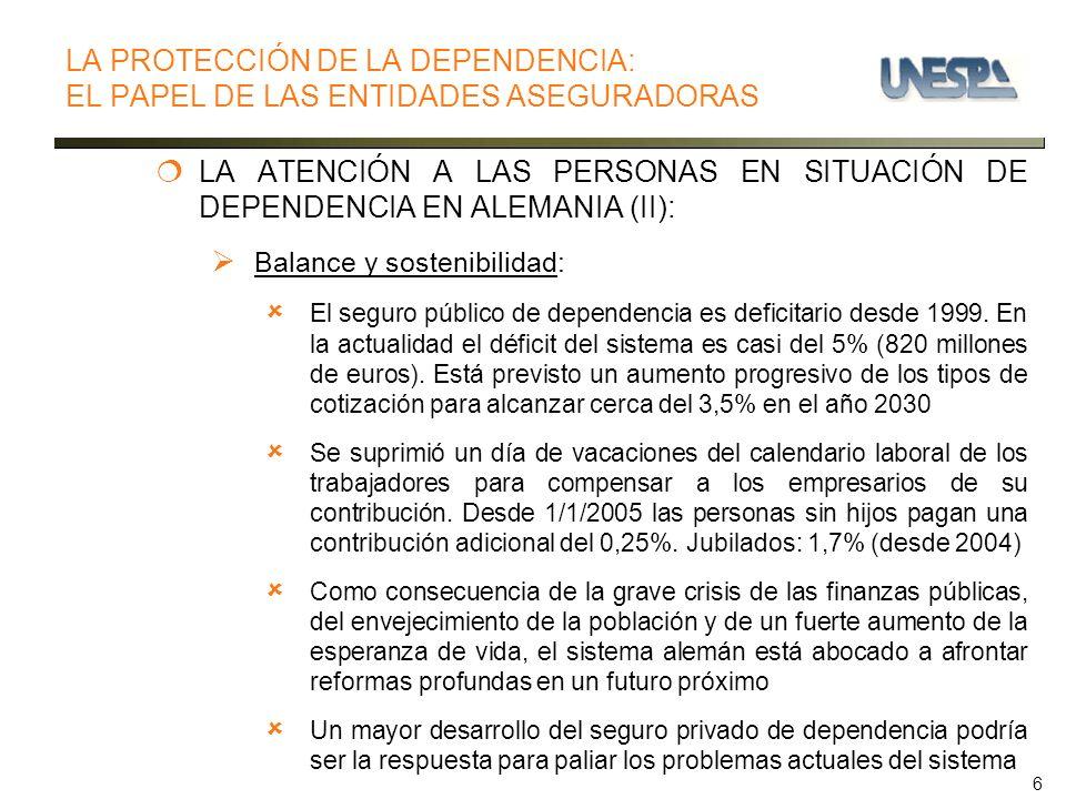 6 LA ATENCIÓN A LAS PERSONAS EN SITUACIÓN DE DEPENDENCIA EN ALEMANIA (II): Balance y sostenibilidad: El seguro público de dependencia es deficitario desde 1999.