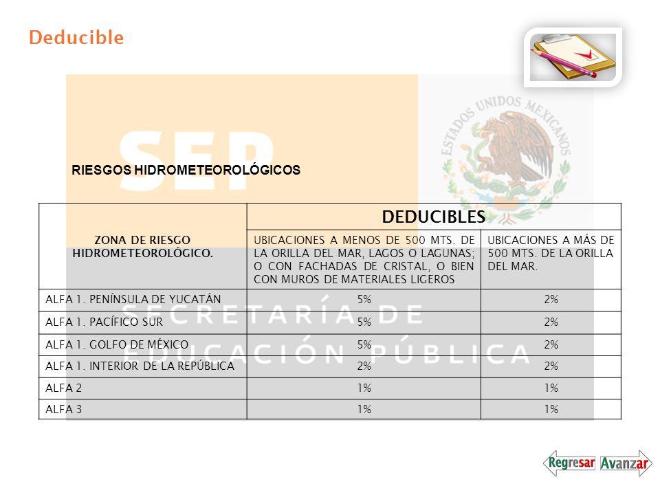 Deducible RIESGOS HIDROMETEOROLÓGICOS ZONA DE RIESGO HIDROMETEOROLÓGICO. DEDUCIBLES UBICACIONES A MENOS DE 500 MTS. DE LA ORILLA DEL MAR, LAGOS O LAGU