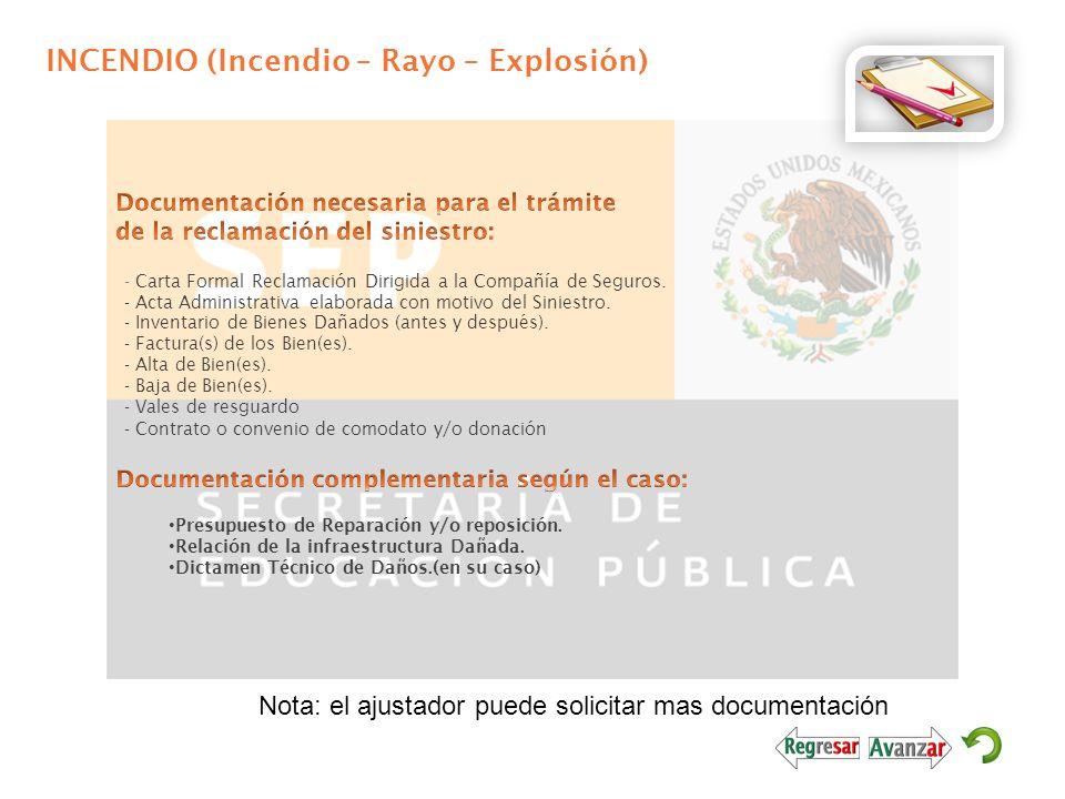 INCENDIO (Incendio – Rayo – Explosión) - Carta Formal Reclamación Dirigida a la Compañía de Seguros. - Acta Administrativa elaborada con motivo del Si