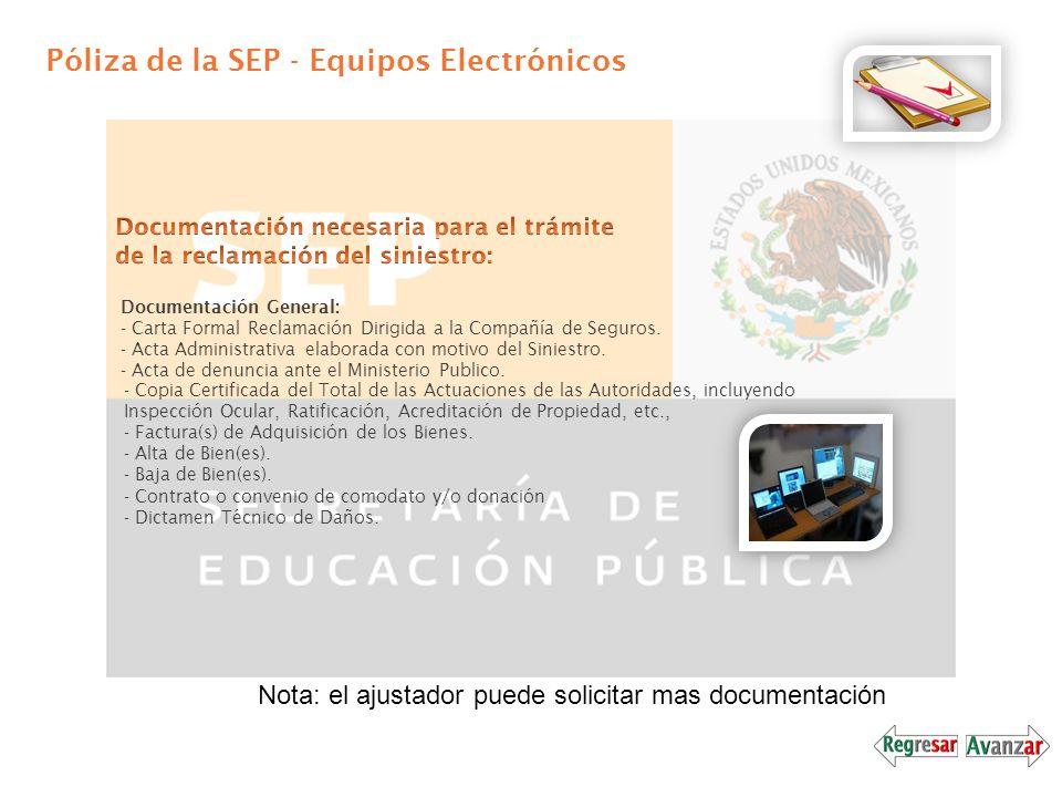 Póliza de la SEP - Equipos Electrónicos Documentación General: - Carta Formal Reclamación Dirigida a la Compañía de Seguros. - Acta Administrativa ela