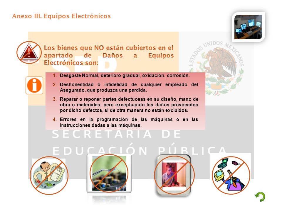 Anexo III. Equipos Electrónicos 1.Desgaste Normal, deterioro gradual, oxidación, corrosión. 2.Deshonestidad o infidelidad de cualquier empleado del As