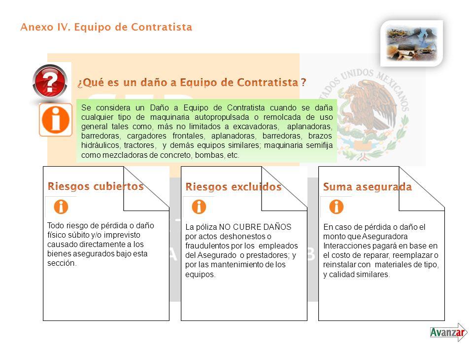 Anexo IV. Equipo de Contratista Se considera un Daño a Equipo de Contratista cuando se daña cualquier tipo de maquinaria autopropulsada o remolcada de