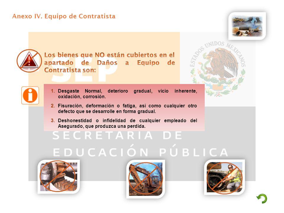 Anexo IV. Equipo de Contratista 1.Desgaste Normal, deterioro gradual, vicio inherente, oxidación, corrosión. 2.Fisuración, deformación o fatiga, así c