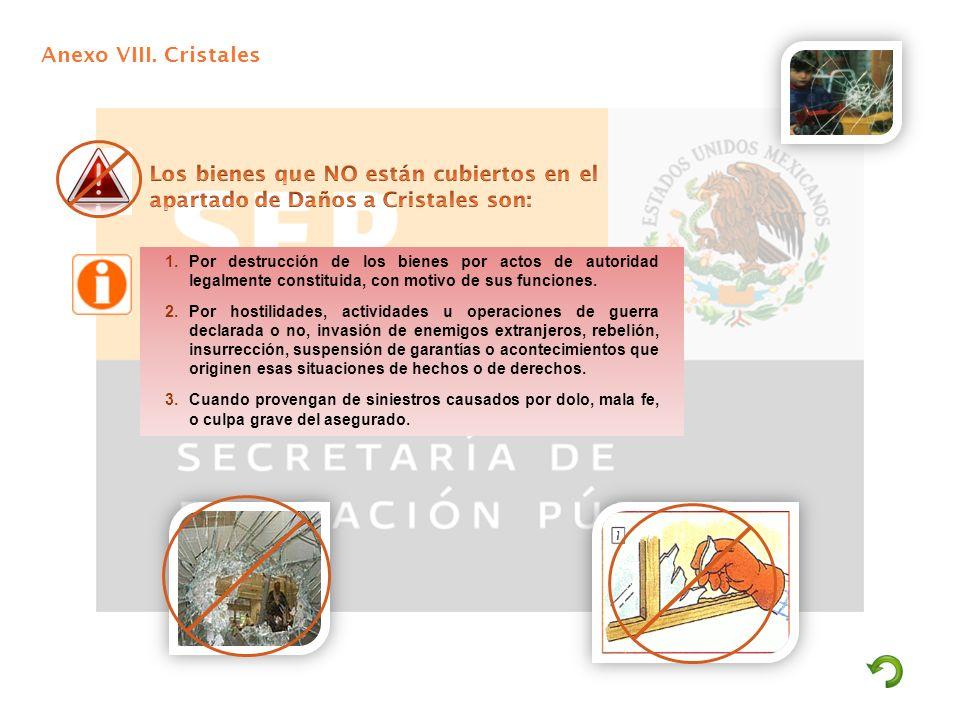 Anexo VIII. Cristales 1.Por destrucción de los bienes por actos de autoridad legalmente constituida, con motivo de sus funciones. 2.Por hostilidades,