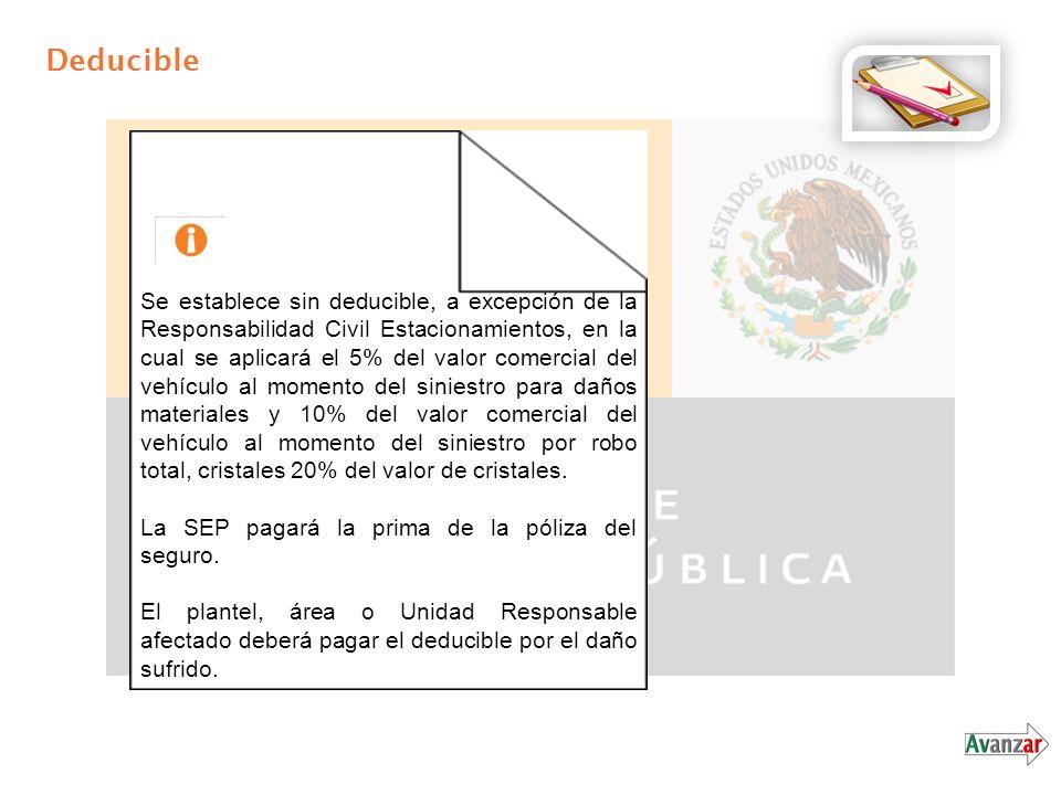 Deducible Se establece sin deducible, a excepción de la Responsabilidad Civil Estacionamientos, en la cual se aplicará el 5% del valor comercial del v