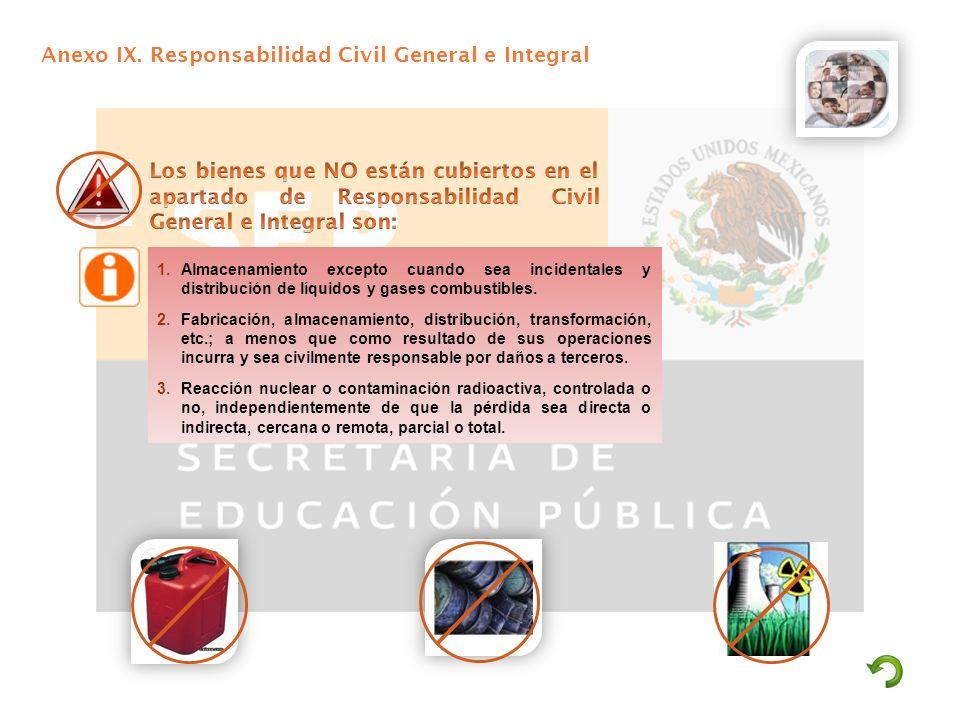 Anexo IX. Responsabilidad Civil General e Integral 1.Almacenamiento excepto cuando sea incidentales y distribución de líquidos y gases combustibles. 2