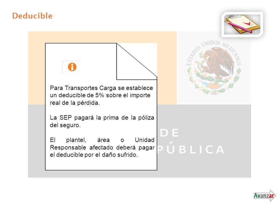 Deducible Para Transportes Carga se establece un deducible de 5% sobre el importe real de la pérdida. La SEP pagará la prima de la póliza del seguro.