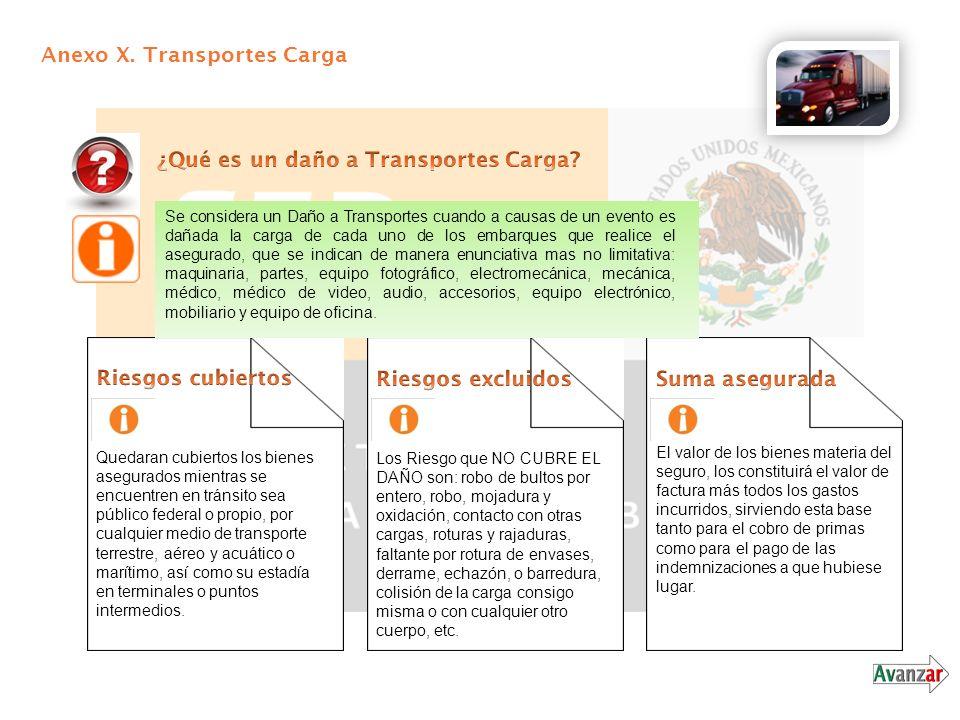 Anexo X. Transportes Carga Se considera un Daño a Transportes cuando a causas de un evento es dañada la carga de cada uno de los embarques que realice