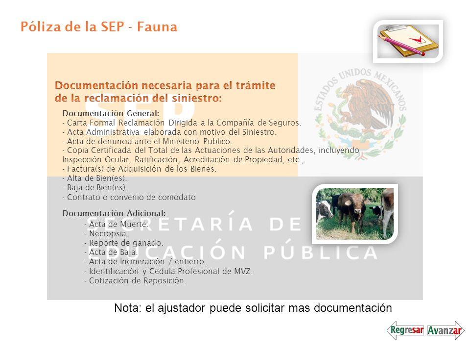 Póliza de la SEP - Fauna Documentación Adicional: - Acta de Muerte. - Necropsia. - Reporte de ganado. - Acta de Baja. - Acta de Incineración / entierr