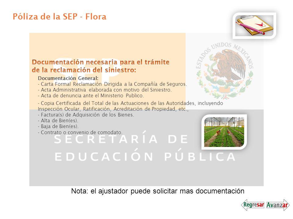 Póliza de la SEP - Flora Documentación General: - Carta Formal Reclamación Dirigida a la Compañía de Seguros. - Acta Administrativa elaborada con moti