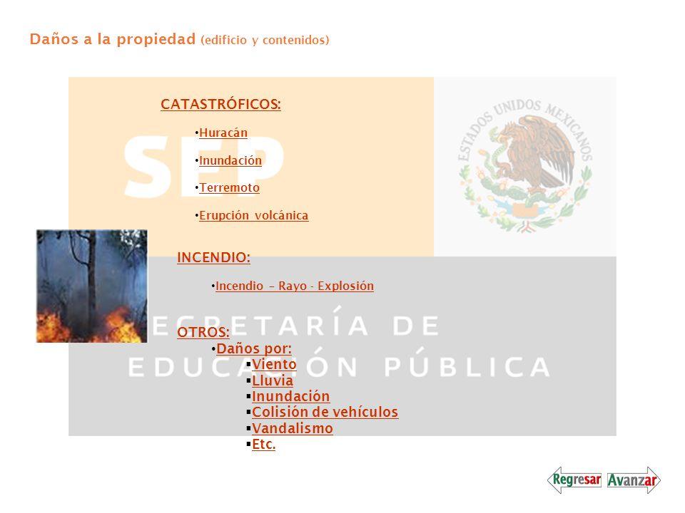 Daños a la propiedad (edificio y contenidos) CATASTRÓFICOS: Huracán Inundación Terremoto Erupción volcánica INCENDIO: Incendio – Rayo - Explosión OTRO