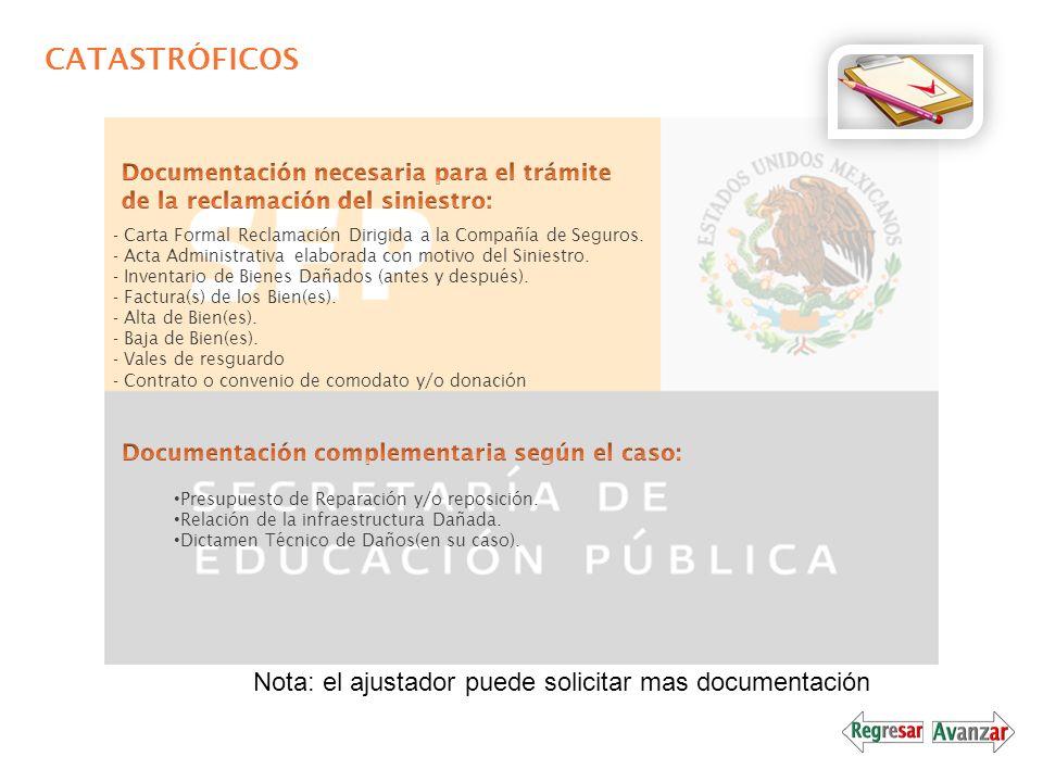 CATASTRÓFICOS - Carta Formal Reclamación Dirigida a la Compañía de Seguros. - Acta Administrativa elaborada con motivo del Siniestro. - Inventario de