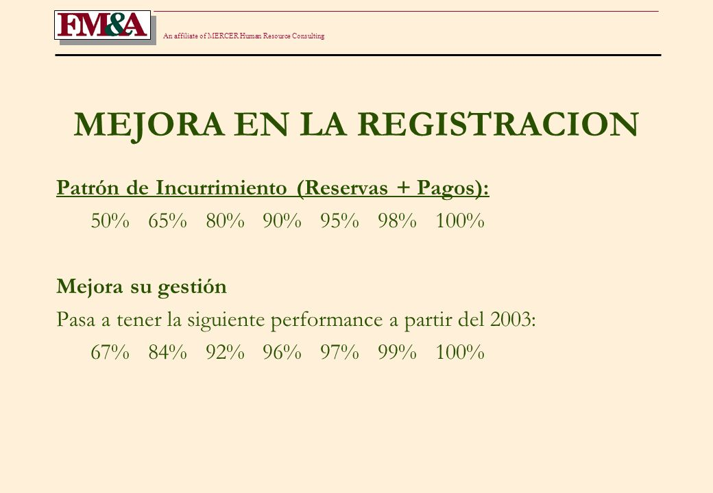 An affiliate of MERCER Human Resource Consulting MEJORA EN LA REGISTRACION Patrón de Incurrimiento (Reservas + Pagos): 50% 65% 80% 90% 95% 98% 100% Me