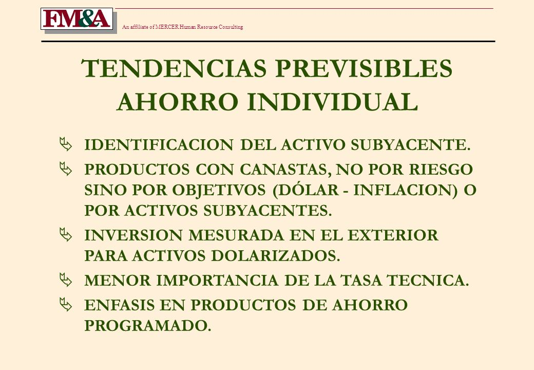 An affiliate of MERCER Human Resource Consulting TENDENCIAS PREVISIBLES AHORRO INDIVIDUAL IDENTIFICACION DEL ACTIVO SUBYACENTE.