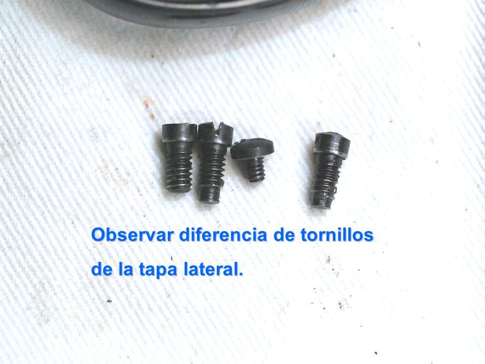 Observar diferencia de tornillos de la tapa lateral.
