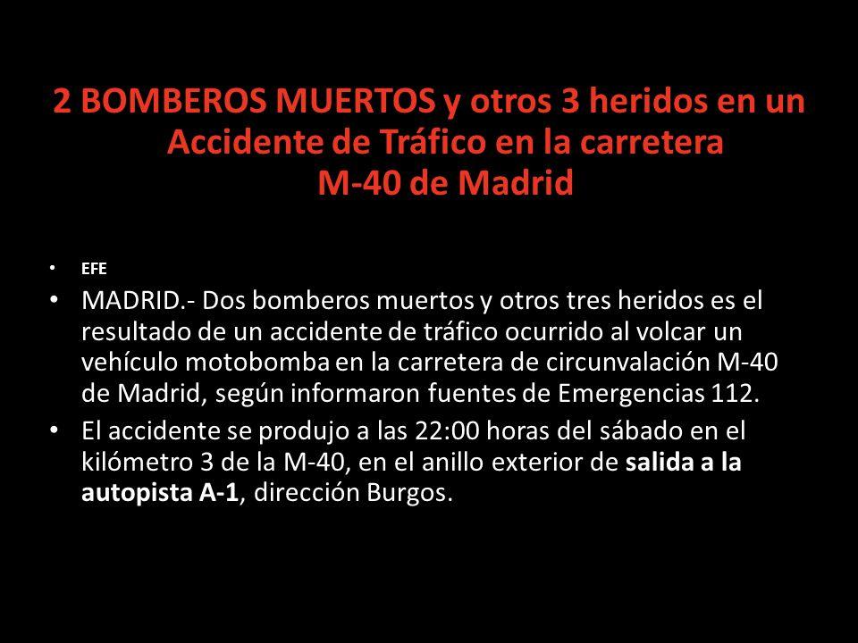 2 BOMBEROS MUERTOS y otros 3 heridos en un Accidente de Tráfico en la carretera M-40 de Madrid EFE MADRID.- Dos bomberos muertos y otros tres heridos es el resultado de un accidente de tráfico ocurrido al volcar un vehículo motobomba en la carretera de circunvalación M-40 de Madrid, según informaron fuentes de Emergencias 112.