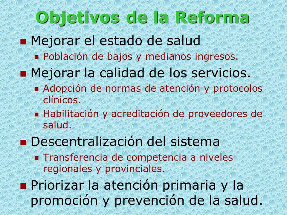 Objetivos de la Reforma Mejorar el estado de salud Población de bajos y medianos ingresos.