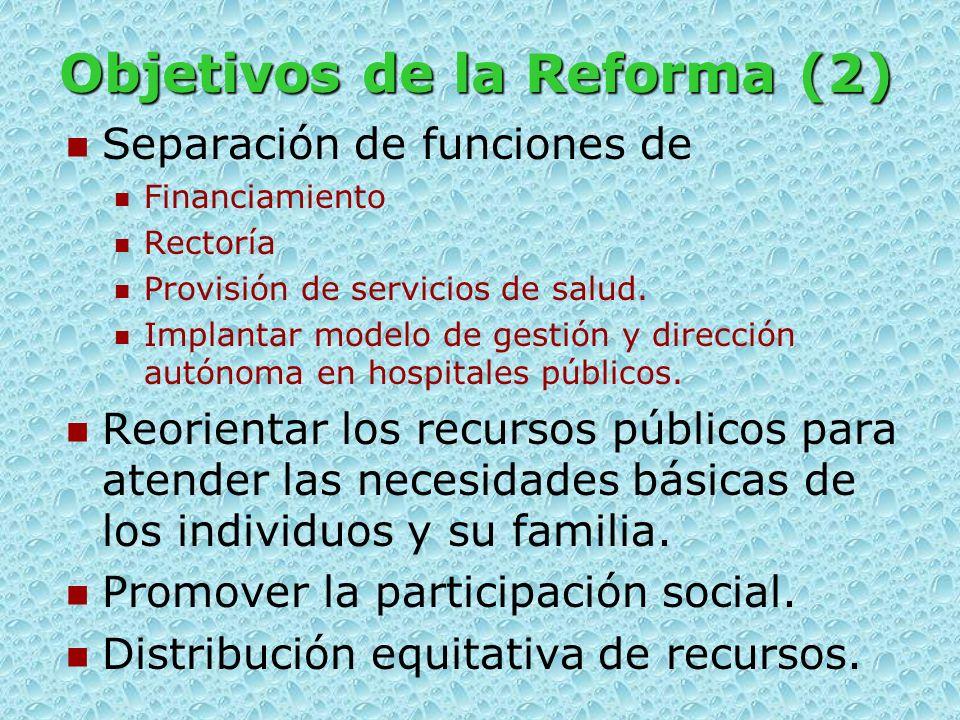 Objetivos de la Reforma Mejorar el estado de salud Población de bajos y medianos ingresos. Mejorar la calidad de los servicios. Adopción de normas de