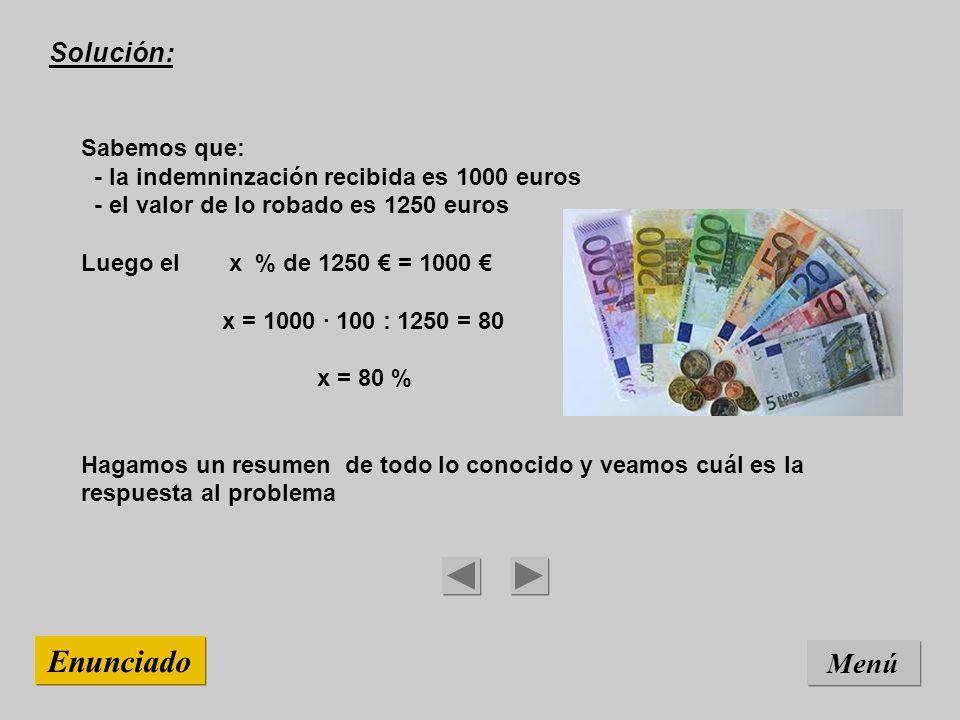 Solución: Sabemos que: - la indemninzación recibida es 1000 euros - el valor de lo robado es 1250 euros Luego el x % de 1250 = 1000 x = 1000 · 100 : 1250 = 80 x = 80 % Hagamos un resumen de todo lo conocido y veamos cuál es la respuesta al problema Menú Enunciado