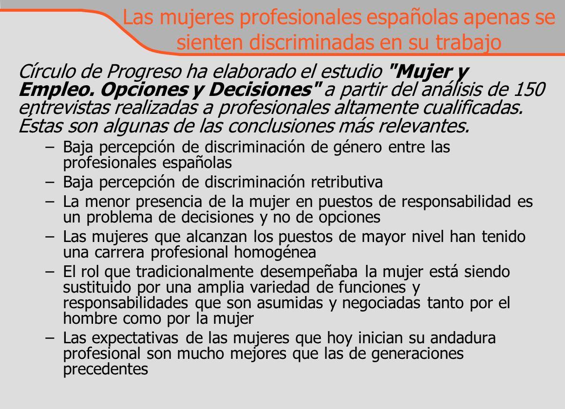 Las mujeres profesionales españolas apenas se sienten discriminadas en su trabajo Círculo de Progreso ha elaborado el estudio Mujer y Empleo.