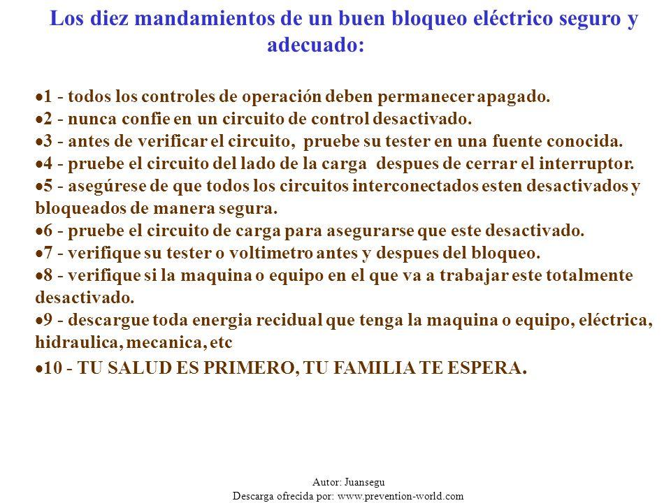 Autor: Juansegu Descarga ofrecida por: www.prevention-world.com Riesgo Eléctrico Si debes trabajar en instalaciones eléctricas recuerda las cinco reglas de oro: 1.Abrir todas las fuentes de tensión.