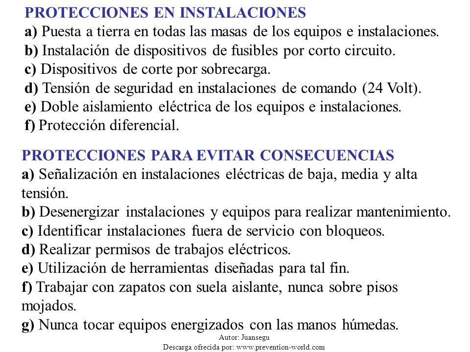 Autor: Juansegu Descarga ofrecida por: www.prevention-world.com CONCLUSIONES Los accidentes por contactos eléctricos son escasos pero pueden ser fatales.