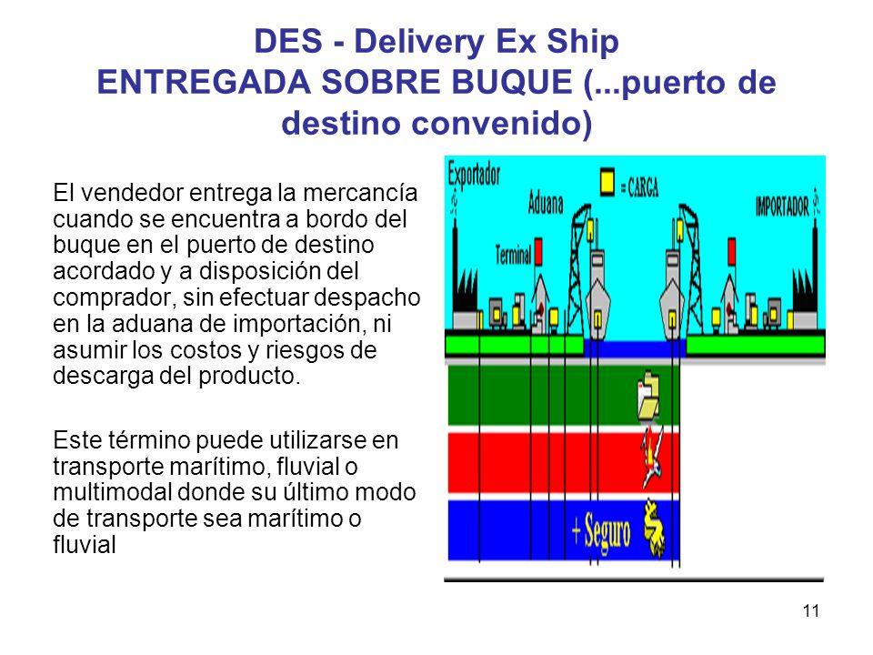 11 DES - Delivery Ex Ship ENTREGADA SOBRE BUQUE (...puerto de destino convenido) El vendedor entrega la mercancía cuando se encuentra a bordo del buqu