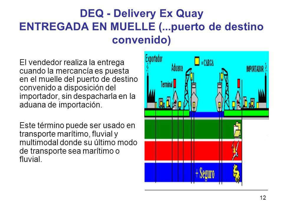 12 DEQ - Delivery Ex Quay ENTREGADA EN MUELLE (...puerto de destino convenido) El vendedor realiza la entrega cuando la mercancía es puesta en el muel