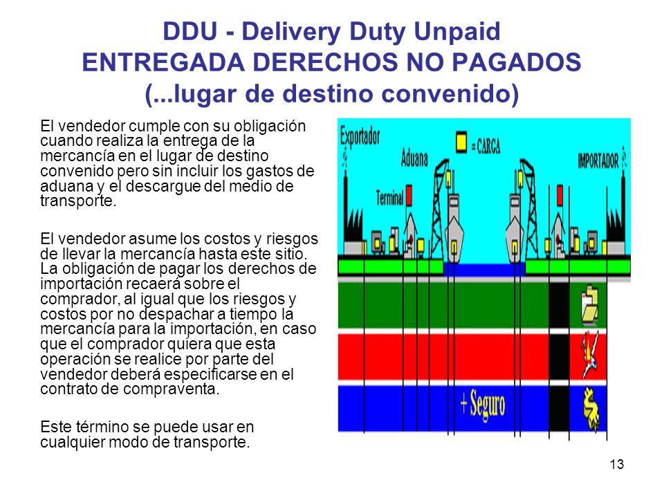 13 DDU - Delivery Duty Unpaid ENTREGADA DERECHOS NO PAGADOS (...lugar de destino convenido) El vendedor cumple con su obligación cuando realiza la ent