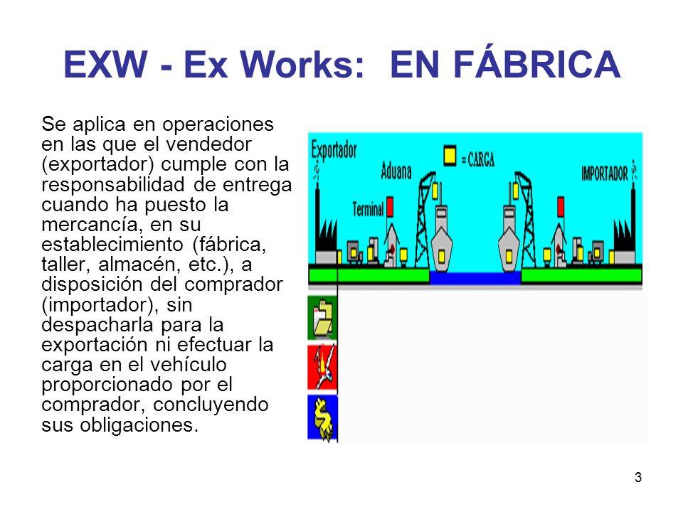 3 EXW - Ex Works: EN FÁBRICA Se aplica en operaciones en las que el vendedor (exportador) cumple con la responsabilidad de entrega cuando ha puesto la