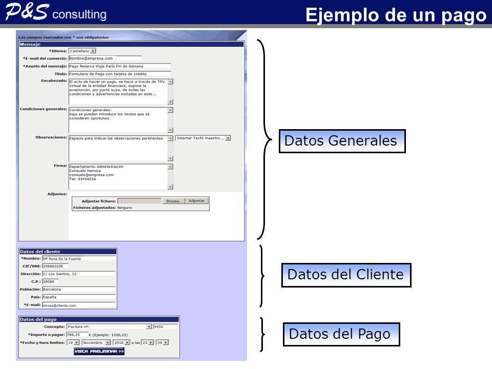 Datos Generales Datos del Cliente Datos del Pago P&S consulting Ejemplo de un pago