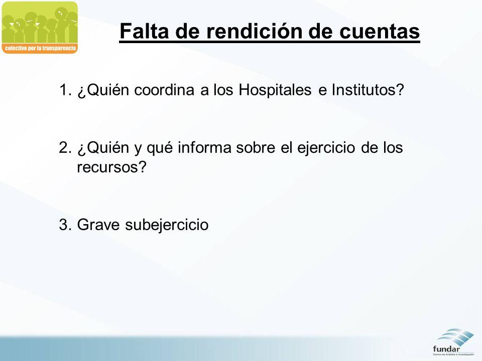 Falta de rendición de cuentas 1.¿Quién coordina a los Hospitales e Institutos? 2.¿Quién y qué informa sobre el ejercicio de los recursos? 3.Grave sube