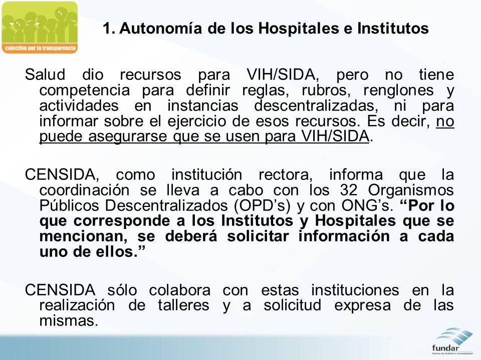 1. Autonomía de los Hospitales e Institutos Salud dio recursos para VIH/SIDA, pero no tiene competencia para definir reglas, rubros, renglones y activ