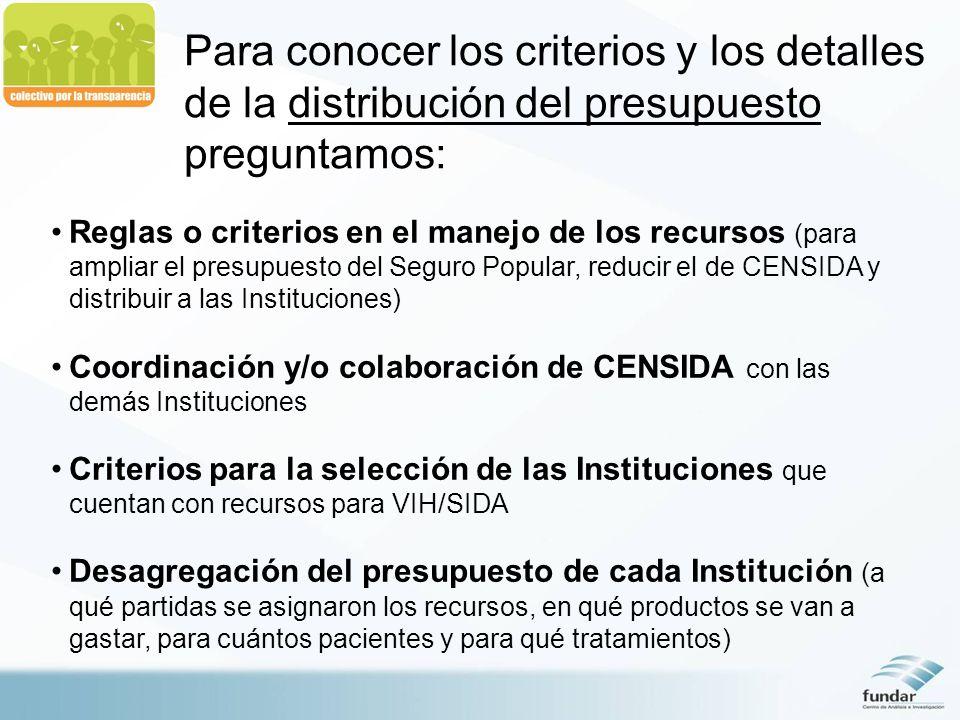 Reglas o criterios en el manejo de los recursos (para ampliar el presupuesto del Seguro Popular, reducir el de CENSIDA y distribuir a las Institucione