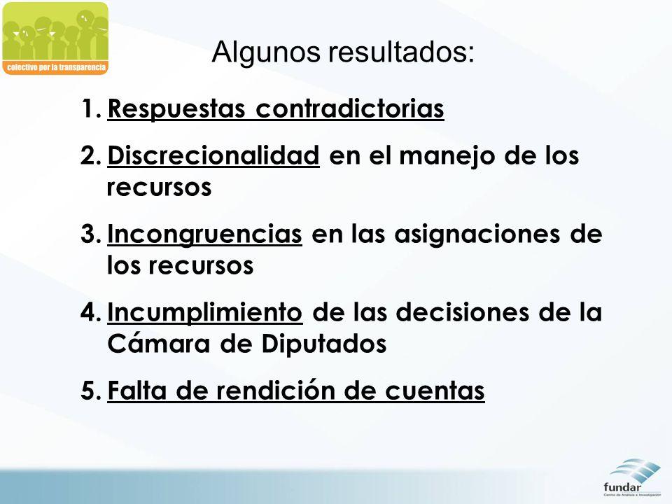 Algunos resultados: 1.Respuestas contradictorias 2.Discrecionalidad en el manejo de los recursos 3.Incongruencias en las asignaciones de los recursos 4.Incumplimiento de las decisiones de la Cámara de Diputados 5.Falta de rendición de cuentas