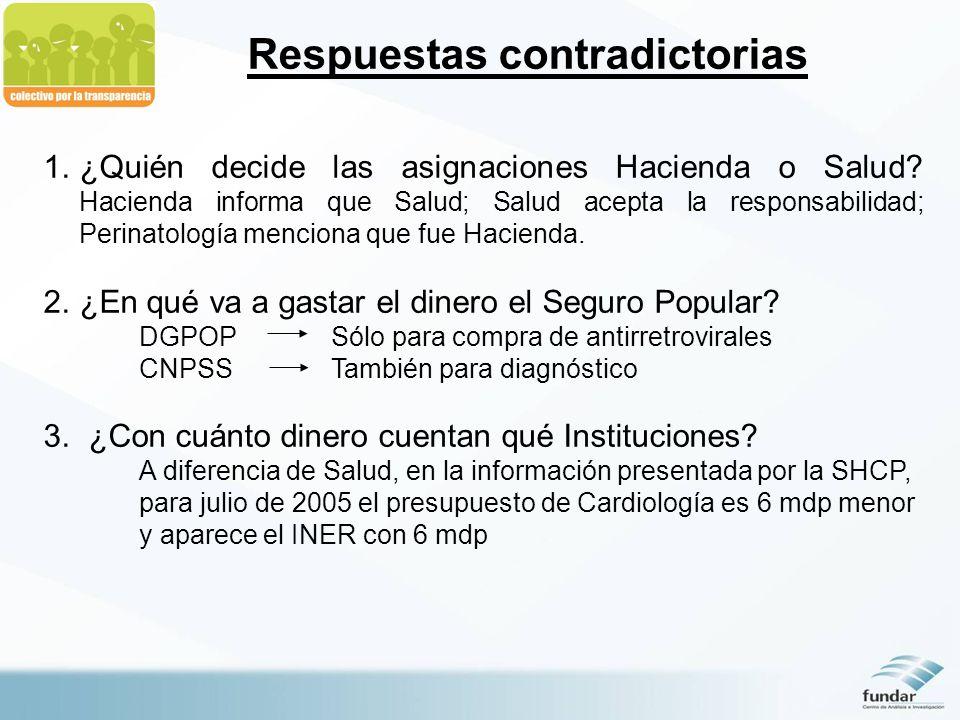 Respuestas contradictorias 1.¿Quién decide las asignaciones Hacienda o Salud.