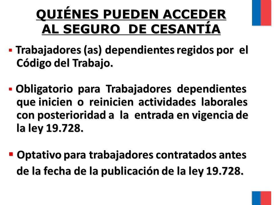 QUIÉNES PUEDEN ACCEDER AL SEGURO DE CESANTÍA Trabajadores (as) dependientes regidos por el Trabajadores (as) dependientes regidos por el Código del Trabajo.