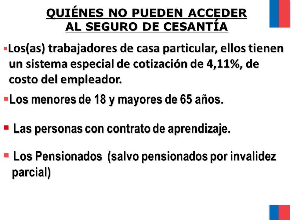 QUIÉNES NO PUEDEN ACCEDER AL SEGURO DE CESANTÍA Los(as) trabajadores de casa particular, ellos tienen Los(as) trabajadores de casa particular, ellos tienen un sistema especial de cotización de 4,11%, de un sistema especial de cotización de 4,11%, de costo del empleador.
