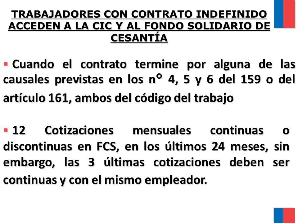 TRABAJADORES CON CONTRATO INDEFINIDO ACCEDEN A LA CIC Y AL FONDO SOLIDARIO DE CESANTÍA Cuando el contrato termine por alguna de las causales previstas en los n° 4, 5 y 6 del 159 o del artículo 161, ambos del código del trabajo Cuando el contrato termine por alguna de las causales previstas en los n° 4, 5 y 6 del 159 o del artículo 161, ambos del código del trabajo 12 Cotizaciones mensuales continuas o discontinuas en FCS, en los últimos 24 meses, sin embargo, las 3 últimas cotizaciones deben ser continuas y con el mismo empleador.