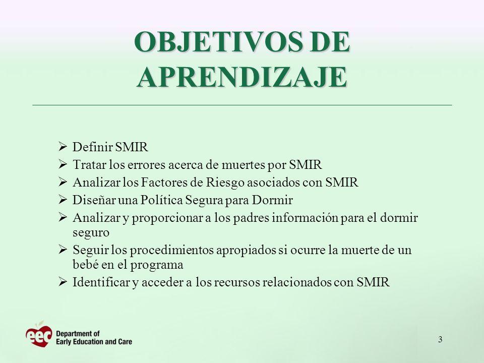 3 Definir SMIR Tratar los errores acerca de muertes por SMIR Analizar los Factores de Riesgo asociados con SMIR Diseñar una Política Segura para Dormi