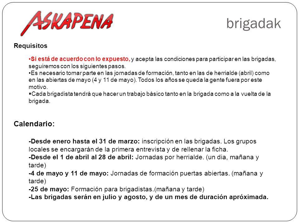 brigadak Requisitos Si está de acuerdo con lo expuesto, y acepta las condiciones para participar en las brigadas, seguiremos con los siguientes pasos.