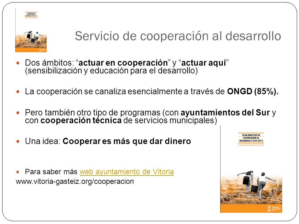 Servicio de cooperación al desarrollo Dos ámbitos: actuar en cooperación y actuar aquí (sensibilización y educación para el desarrollo) La cooperación