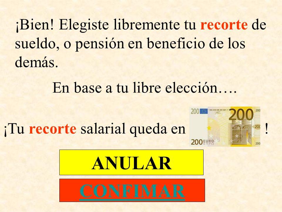 ¡Bien! Elegiste libremente tu recorte de sueldo, o pensión en beneficio de los demás. En base a tu libre elección…. ¡Tu recorte salarial queda en ! AN