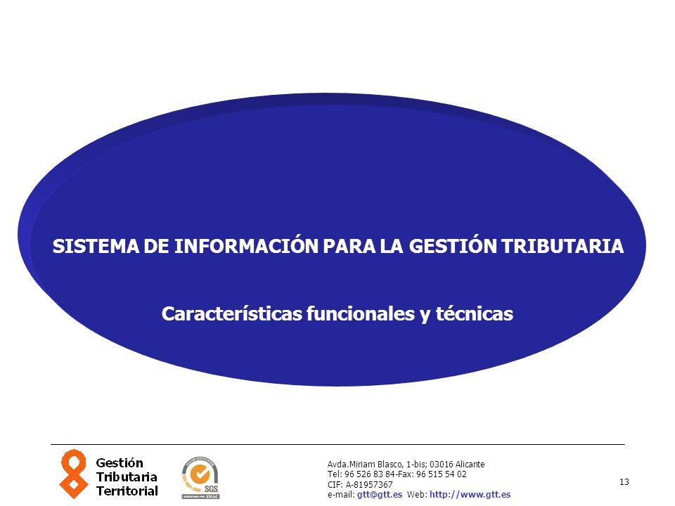 13 Avda.Miriam Blasco, 1-bis; 03016 Alicante Tel: 96 526 83 84-Fax: 96 515 54 02 CIF: A-81957367 e-mail: gtt@gtt.es Web: http://www.gtt.es SISTEMA DE