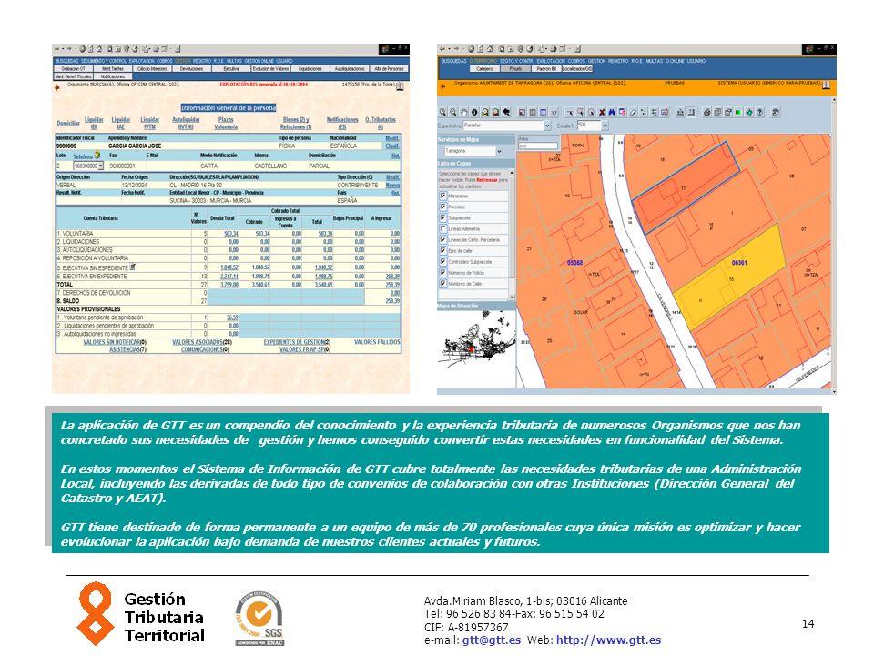 14 Avda.Miriam Blasco, 1-bis; 03016 Alicante Tel: 96 526 83 84-Fax: 96 515 54 02 CIF: A-81957367 e-mail: gtt@gtt.es Web: http://www.gtt.es La aplicaci