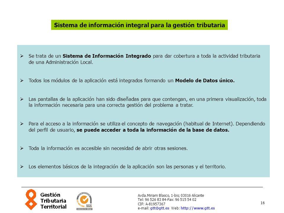 16 Avda.Miriam Blasco, 1-bis; 03016 Alicante Tel: 96 526 83 84-Fax: 96 515 54 02 CIF: A-81957367 e-mail: gtt@gtt.es Web: http://www.gtt.es Se trata de