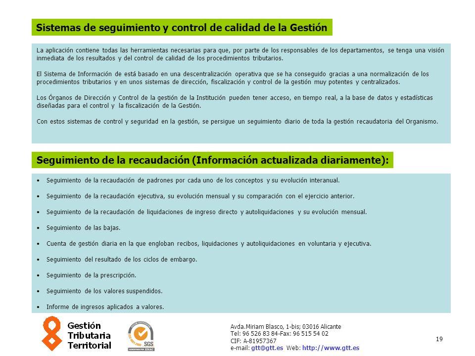 19 Avda.Miriam Blasco, 1-bis; 03016 Alicante Tel: 96 526 83 84-Fax: 96 515 54 02 CIF: A-81957367 e-mail: gtt@gtt.es Web: http://www.gtt.es Sistemas de