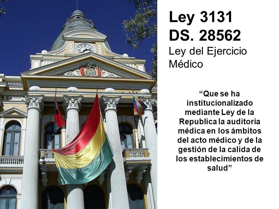 Ley 3131 DS. 28562 Ley del Ejercicio Médico Que se ha institucionalizado mediante Ley de la Republica la auditoria médica en los ámbitos del acto médi
