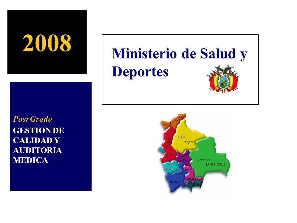 2008 Ministerio de Salud y Deportes Post Grado GESTION DE CALIDAD Y AUDITORIA MEDICA