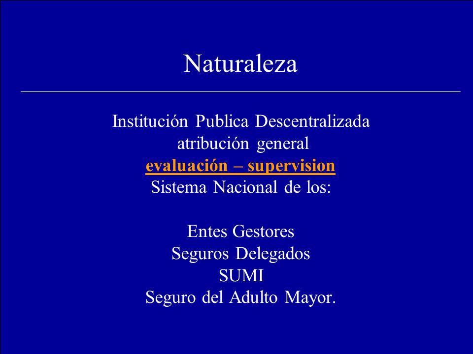 Naturaleza Institución Publica Descentralizada atribución general evaluación – supervision Sistema Nacional de los: Entes Gestores Seguros Delegados S